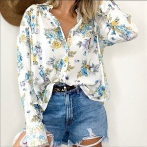 """Free People """"Hold On To Me"""" Floral Printed Blouse"""